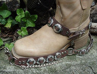"WESTERN BOOTS BOOT CHAINS ""The Concho Honcho"" BROWN TOPGRAIN LEATHER, 8 CONCHOS"