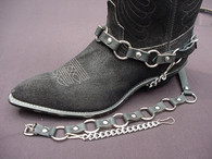 WESTERN BOOT CHAINS METAL RINGS ON BLACK TOPGRAIN COWHIDE LEATHER