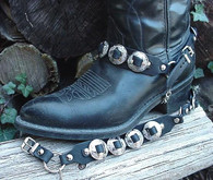 "WESTERN BOOTS BOOT CHAINS ""The Concho Honcho"" BLACK TOPGRAIN LEATHER, 8 CONCHOS"