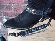 "WESTERN BOOT CHAINS BLACK TOPGRAIN COWHIDE LEATHER W 3 1"" NICKEL CONCHOS"