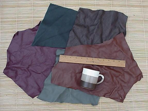 3 Full Pounds,15 Square Feet Mixed Browns Dangerous Threads Upholstery Leather Large Pieces