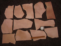 SCRAP LEATHER VEG VEGETABLE TAN SPLIT PRACTICE PIECES 2 LBS 9 Square Feet
