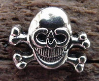 METAL SKULL & CROSSBONES CAST BUTTON  W RIVET 12 pcs