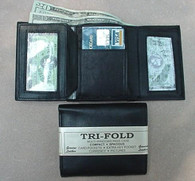 MENS BLACK LEATHER WALLET LAMB CLASSIC TRIFOLD  731