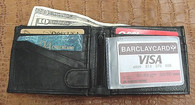MENS BLACK LEATHER WALLET LAMB BIFOLD W COIN POUCH 794