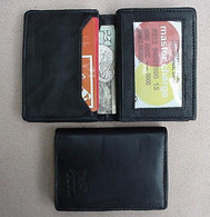 MENS BLACK LEATHER WALLET CARD HOLDER LAMB BIFOLD 772