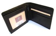 MENS BLACK LEATHER WALLET BIFOLD COWHIDE BOXED FL28