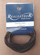 DEERSKIN LACE LACING LEATHER TOPGRAIN DARK BROWN 2 YARDS