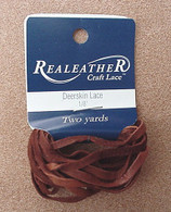 DEERSKIN LACE LACING LEATHER TOPGRAIN SADDLE BROWN 2 YARDS