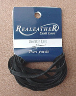 DEERSKIN LACE LACING LEATHER TOPGRAIN BLACK 2 YARDS