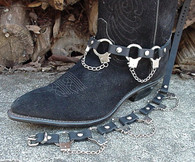 BIKER BOOTS BOOT CHAINS BLACK TOPGRAIN COWHIDE LEATHER, 3 REAL THUMBCUFFS