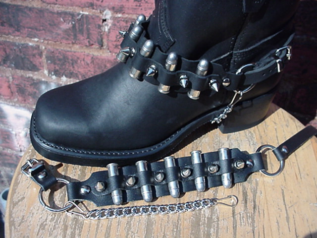 3 REAL THUMBCUFFS BIKER BOOTS BOOT CHAINS BLACK TOPGRAIN COWHIDE LEATHER