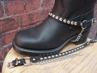 BIKER BOOTS BOOT CHAINS BLACK TOPGRAIN COWHIDE LEATHER WITH ROUND SILVER STUDS