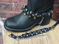 BIKER BOOTS BOOT CHAINS BLACK TOPGRAIN COWHIDE LEATHER WITH REAL 9MM BULLETS