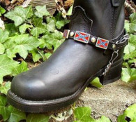 BIKER BOOTS BOOT CHAINS BLACK TOPGRAIN COWHIDE LEATHER WITH CONFEDERATE FLAG