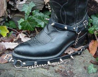 "BIKER BOOTS BOOT CHAINS BLACK TOPGRAIN COWHIDE LEATHER W 1/2"" SPIKES"