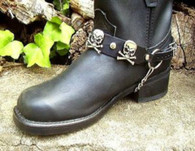 BIKER BOOTS BOOT CHAINS:  BLACK TOPGRAIN COWHIDE LEATHER with SKULL & CROSSBONES
