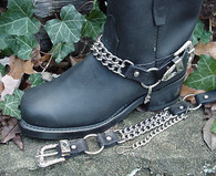 BIKER BOOTS BOOT CHAINS: BLACK TOPGRAIN COWHIDE LEATHER WITH DOUBLE STEEL CHAINS