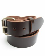 "MENS DARK CHOCOLATE BROWN LEATHER BELT 1 1/2"" Wide Size 30 through 72"