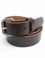 "HEAVY DUTY CHOCOLATE BROWN LEATHER BELT 1 1/4"" Size 30 through 72"