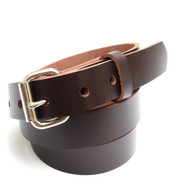 "MENS HEAVY DARK BROWN DRESS BELT 1"" Wide Size 30 through 60"