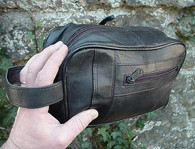 MENS BLACK LEATHER SHAVING KIT BAG LAMBSKIN NEW!