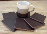 COASTERS LEATHER SQUARE 6 pcs CHOCOLATE BROWN *NEW*