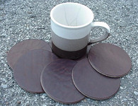 COASTERS LEATHER ROUND 6 pcs CHOCOLATE BROWN *NEW*
