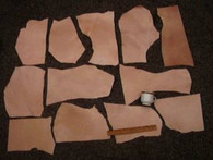LEATHER SIDE VEG VEGETABLE TAN SPLIT PIECES MIXED SIZES 10 LBS 45-50 Square Feet