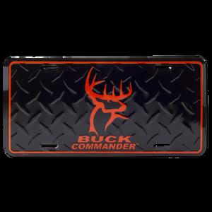 Black and Orange Logo Metal License Plate