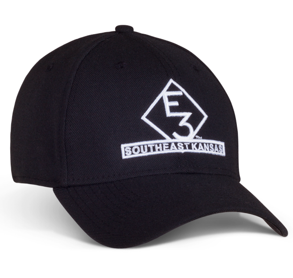 bb44eaa5 Loading zoom. Black fitted cap with E3 logo embroidered in white ...