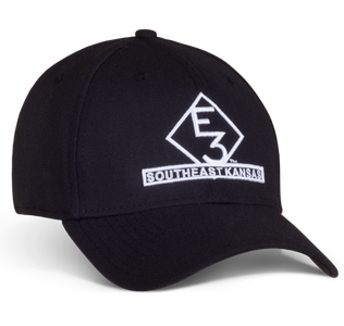 Black fitted cap with E3 logo embroidered in white on the front and white buck head logo embroidered on the back.