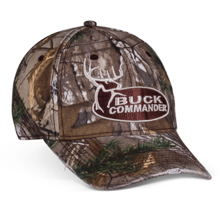 Realtree® Camo hat with Buck Commander logo embroidered on the front, buck head embroidered in white on the back and velcro closure.