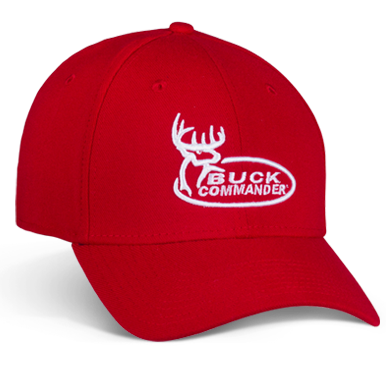 "Our Buck Commander Logo Red New Era Hat has a comfortable fit all season long. It features premium, raised white embroidery.  Medium/Large Fitted Hat Fits 22 3/4"" - 23 7/8""  95% Polyester, 5% Spandex"