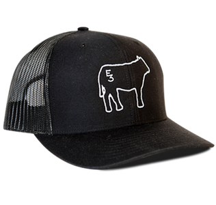 Color: Black, with white cow embroidered on the front Cotton twill front panels and visor with mesh back panels, ProCrown with buckram-fused front panels and ProStitching, Pre-curved PE visor with eight rows of stitching, Snapback