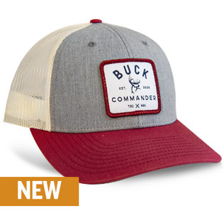 Buck Commander Heather Grey/Red Woven Badge Richardson Hat