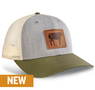 Buck Commander Leather Cow Patch Heather Grey/Birch/Army Olive Richardson Hat