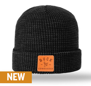 Buck Commander Leather Patch Waffle Beanie