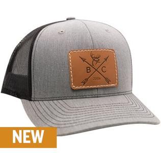 Buck Commander Arrow Leather Patch Grey/Black Hat
