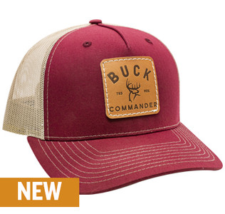 Buck Commander Logo Leather Patch Cardinal/Khaki Hat