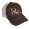 brown and cream mesh hat with embroidered Buck Commander logo on front. Velcro Closure.