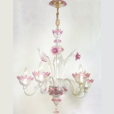 Classic Chandelier w/ Pink Accents - 5 Lights