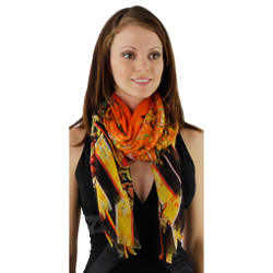 Flirty Fringe and Floral Paisley Print Long Summer Scarf