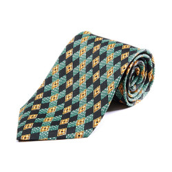 100% Silk Handmade Floral Emblem Tie