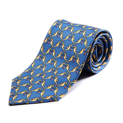 100% Silk Handmade Playful Seahorse Tie