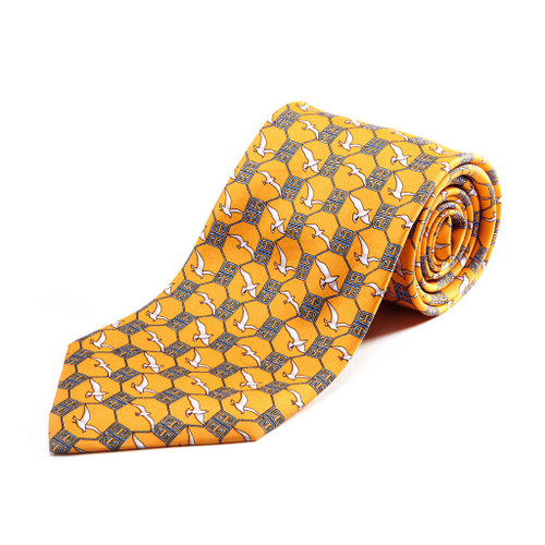 100% Silk Handmade Asian Gulls Tie
