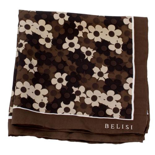 Chocolate Daisy Delight Silk Pocket Square or Handkerchief by Belisi
