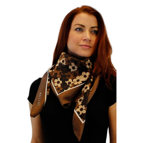 Chocolate Daisy Delight Large Square Silk Scarf by Belisi
