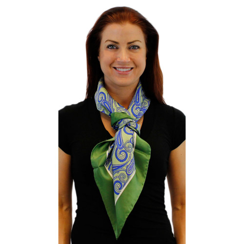 Paisley with a Lime Twist Large Square Silk Scarf by Belisi
