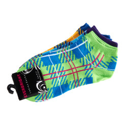 Neon Tartan Anklet Socks Set of 3